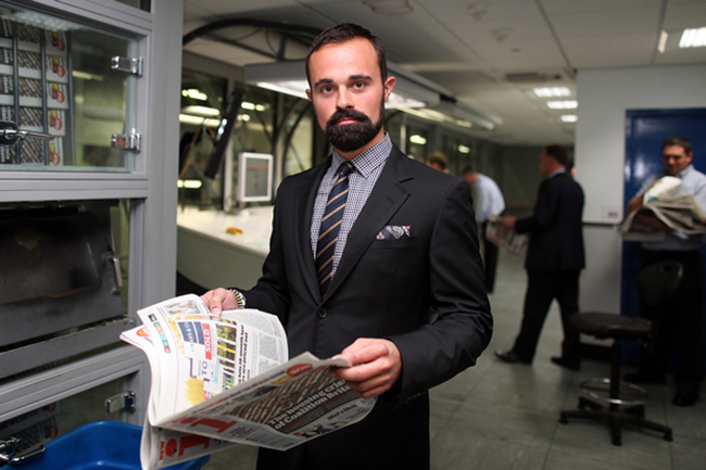 Evgeny Lebedev With First Edition Of 'i' Newspaper